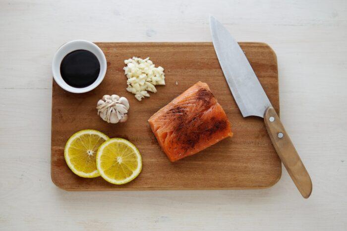 salmon on a chopping board
